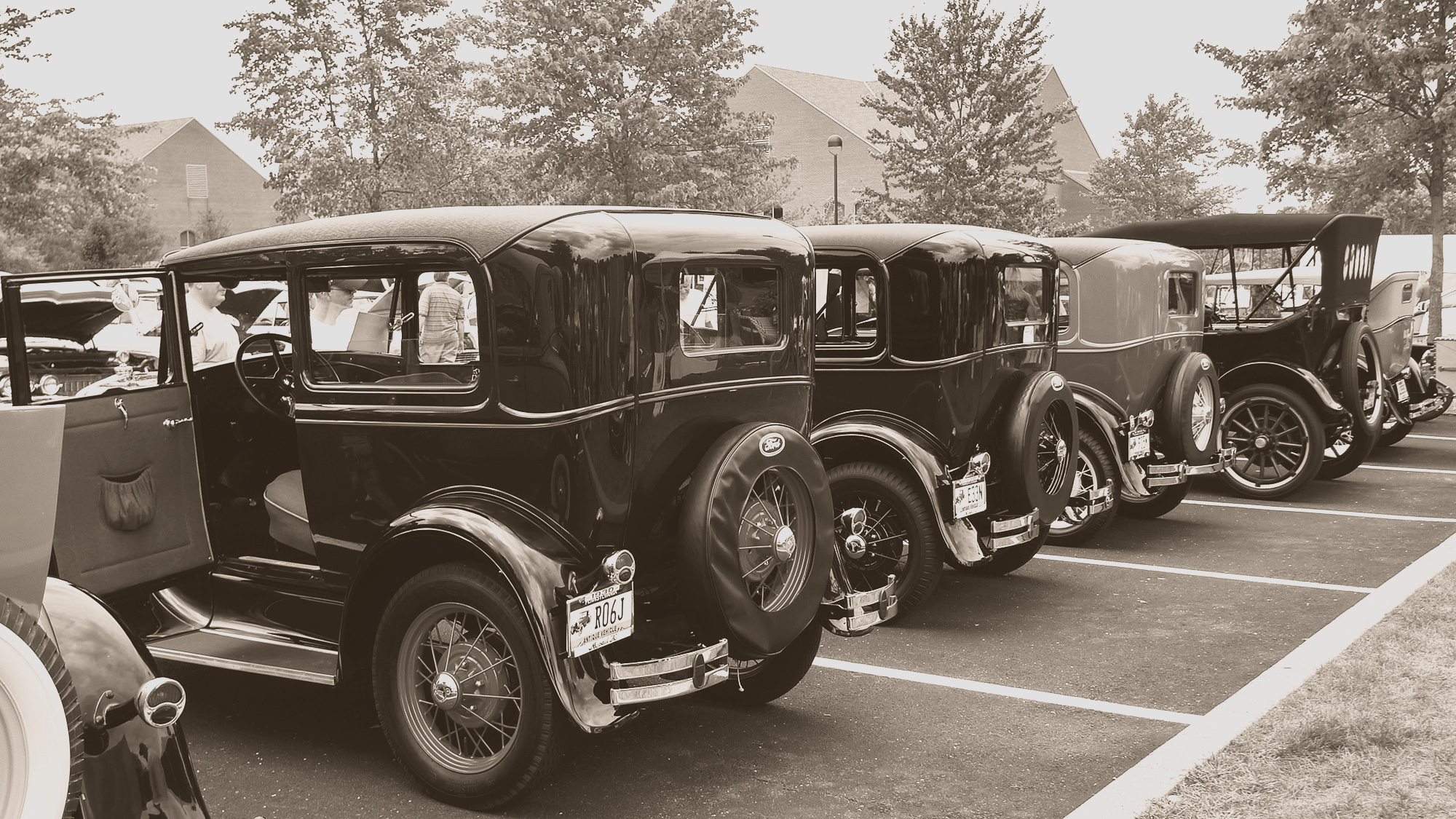 Model A cars in a line up from the rear