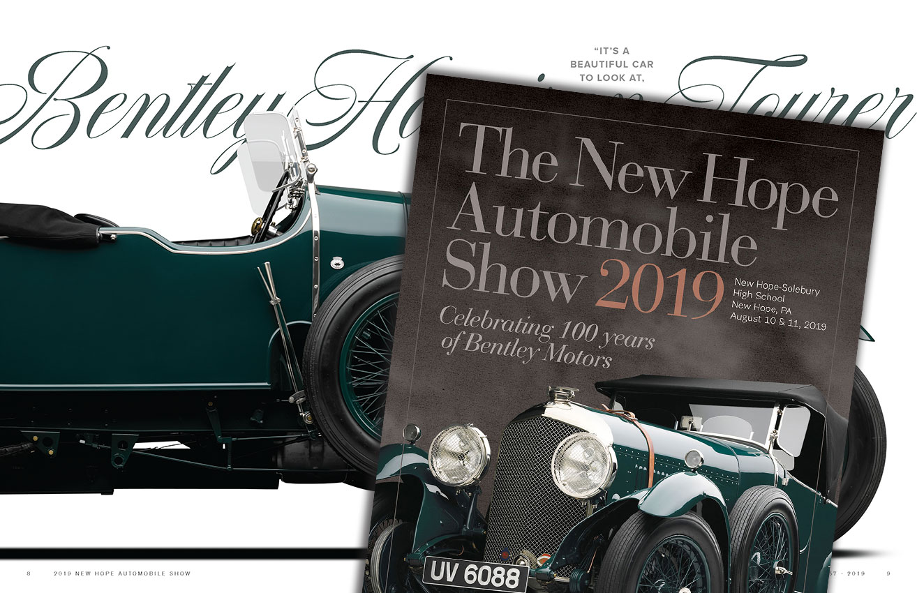 Inside spread and cover of the 2019 New Hope Automobile Show program book