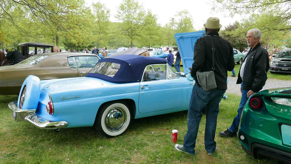 Vintage Ford Thunderbird Convertible at the New Hope Automobile Show Cars & Coffee in Peddler's Village
